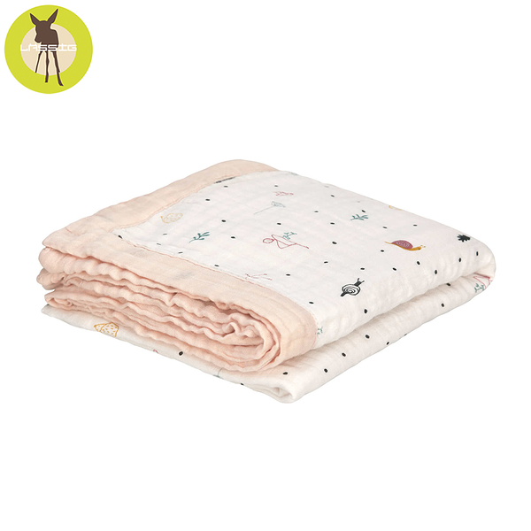 德國LASSIG-超柔手感竹纖維三層紗多功能毯-莓果花園