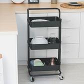 樂嫚妮 ABS三層置物收納手推車/廚房-黑