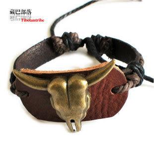 金屬牛頭鉚釘繩編皮手鏈