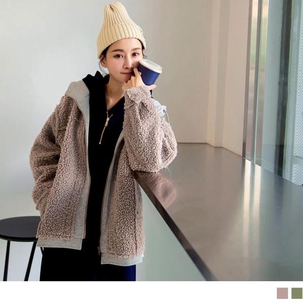 《EA3101-》保暖羊羔毛假兩件連帽長袖外套OB嚴選