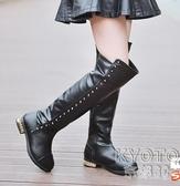 女童靴子2019新款冬季兒童公主高筒過膝長靴中大童保暖加絨雪地靴  京都3C  布衣潮人