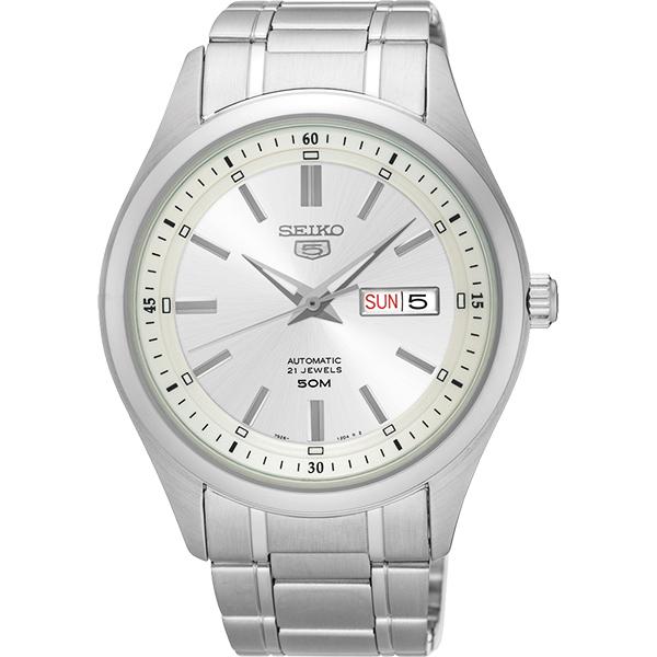 SEIKO 精工 5號盾牌日曆機械錶-銀/42mm 7S26-04M0S(SNKN85J1)