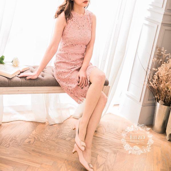 【EIIZO】法式蕾絲收腰無袖洋裝(粉)
