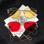 墨鏡女2018新款網紅眼鏡帶錬條復古抖音大框太陽鏡素顏神器眼睛女 滿天星