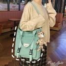 帆布包包女單肩大容量韓版大學生上課文藝百搭斜背包手提布袋【果果新品】