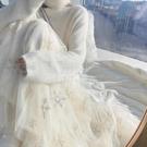 毛衣紗裙子秋冬加絨雪花刺繡網紗半身裙四季可穿超仙百搭