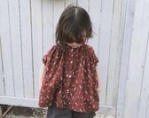 QUEEN 18夏款 韓版女童幾何圖短袖襯衫小立領單排扣娃娃衫 008  百搭潮品