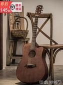 吉他-順豐發貨安德魯41寸民謠原木吉他黑色40寸成人初學者學生男女入門-印象部落
