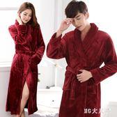 大尺碼秋冬季法蘭絨睡袍睡衣珊瑚絨紅色結婚冬天加厚加長款情侶浴袍 QQ15172『MG大尺碼』