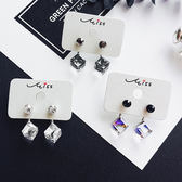耳環 幻彩 水晶 方形 後掛式 簡約 氣質 耳釘 耳環【DD1805011】 ENTER  05/24