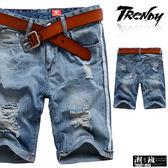 『潮段班』【SD033288】側邊白條設計刷白刷破後口袋抓破設計牛仔短褲 五分褲 膝上褲