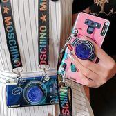 三星Galaxy Note 9 手機殼 復古 藍光 相機殼 全包 防摔 軟殼 氣囊 支架 保護套 斜挎 肩帶