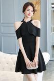 VK旗艦店 韓系時尚荷葉掛脖領伴娘服黑色小禮服短袖洋裝