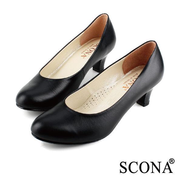 SCONA 全真皮 簡約時尚OL素面跟鞋 黑色 9939-1