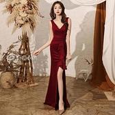 小禮服晚禮服裙女21新款宴會氣質優雅高級質感氣場女王紅色魚尾敬酒服 快速出貨