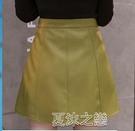 皮裙短款 小皮裙女新款秋冬a字裙短裙高腰半身裙氣質顯瘦時尚包臀裙子 快速出货