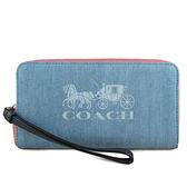 COACH 單寧布紋兩用手掛式手機包 長夾(牛仔藍)-1281