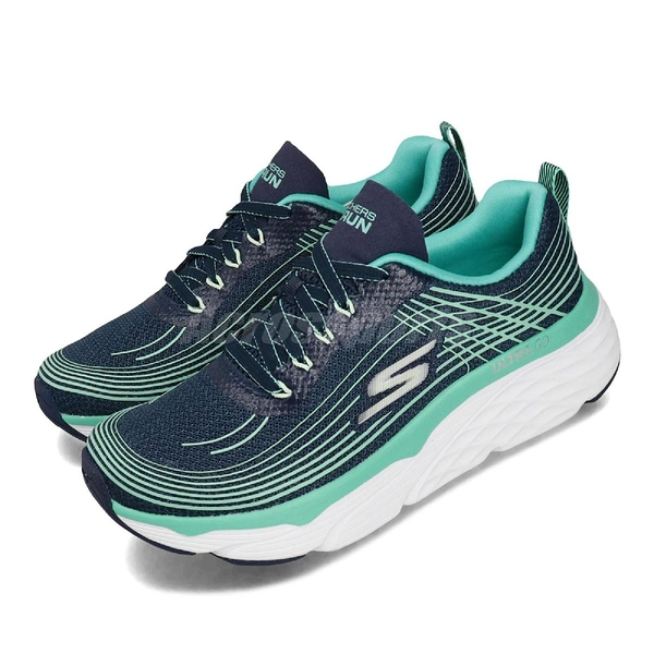Skechers 慢跑鞋 Max Cushioning Elite 藍 綠 女鞋 厚底 健走鞋 運動鞋 【PUMP306】 17693NVTQ