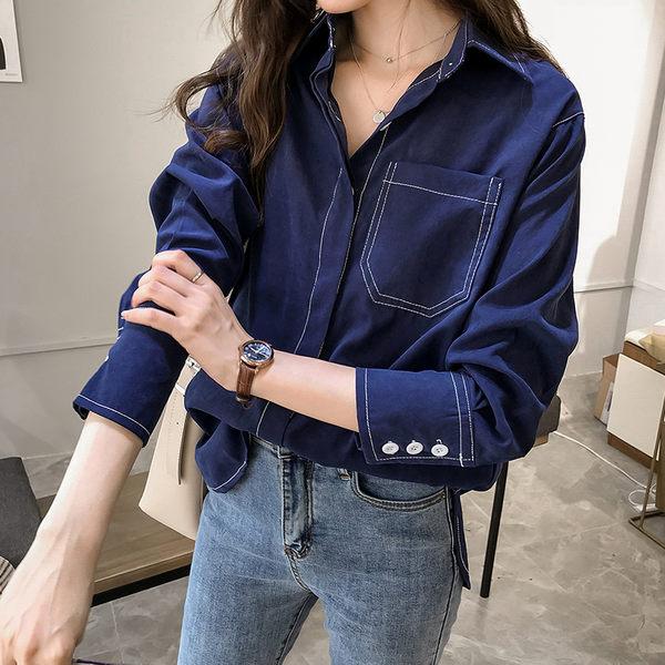 VK精品服飾 韓國風慵懶襯衫復古純色長袖上衣