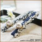 『坂井.亞希子』小香風珍珠牛仔布造型髮夾