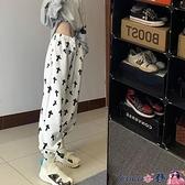 熱賣抽繩褲 休閒運動衛褲女春秋裝2021新款高腰顯瘦闊腿褲寬鬆韓版束腳長褲子 coco