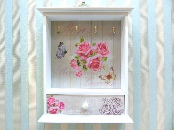木製田園KEY BOX《WB1-2》鄉村玫瑰鑰匙盒 木製鑰匙盒 壁櫃收納櫃小抽屜 新居落成【絢寓居家】