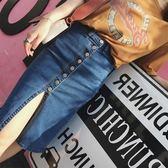 復古風夏季韓版單排扣性感開叉牛仔半身裙女高腰顯瘦包臀裙短裙
