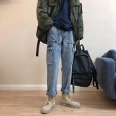 韓國阿美咔嘰軍事風牛仔褲休閒直筒大口袋男女工裝褲