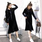 VK精品服飾 韓系金絲絨時尚顯廋顯高魚尾裙擺連帽長袖洋裝
