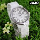 【萬年鐘錶】JOJO 陶瓷鑽錶 NATURALLY  簡約優雅氣質陶瓷錶   白x白  JO96900-80F