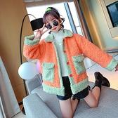 韓版外套中大童上衣 兒童棉服加絨夾克外套 女孩洋氣棉衣女童外套 羊羔毛羽絨外套秋冬棉襖