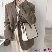水桶包 帆布包包女2021新款潮時尚韓版水桶包百搭ins高級感側背包斜背包 coco