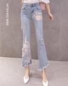 時尚女韓版復古刺繡釘珠高腰牛仔褲彈力修身微喇叭九分褲