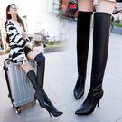 過膝長靴 高筒靴子 女新款性感高跟細跟顯瘦女鞋彈力靴尖頭馬丁靴