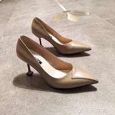 尖頭單鞋女淺口細跟高跟鞋性感百搭歐美小香風貓跟鞋時尚 千千女鞋
