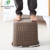 臟衣籃塑料洗衣籃浴室衣物臟衣服收納筐衛生間收納桶藍臟衣簍家用CY 韓風物語
