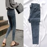 裝新品新款高腰網紅牛仔褲女秋褲子緊身小腳九分褲顯瘦款