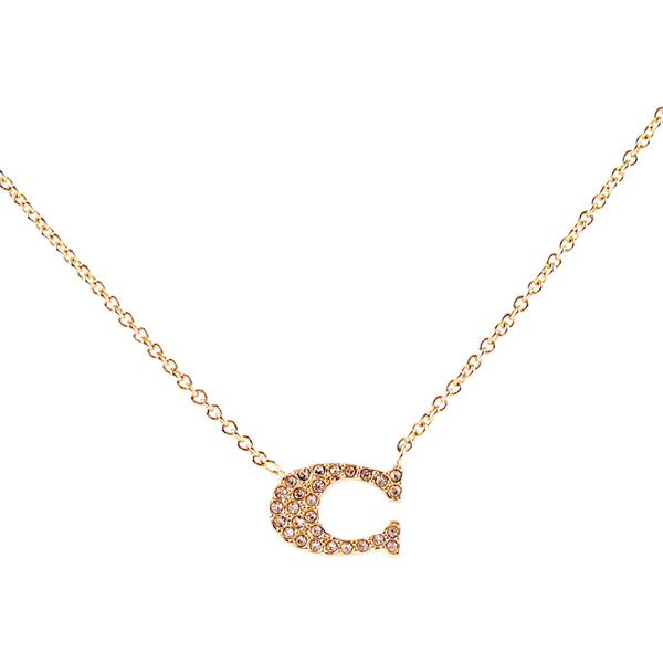 【COACH】C Logo水鑽項鍊(金色) 91433 GOLD