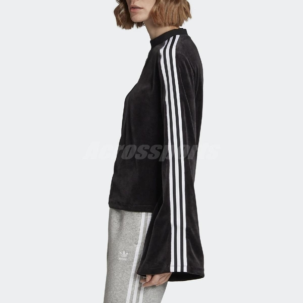 adidas 長袖T恤 Flared Sleeve Velour Sweatshirt 黑 白 女款 天鵝絨 寬袖 【PUMP306】 ED4752
