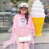 2018夏季女裝新款韓版學生寬鬆印花上衣T恤網紗ulzzang假兩件短袖
