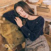 東京著衣【YOCO】輕甜舒適圓領毛海小繡花上衣-S.M.L(172624)