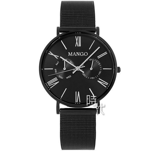 【台南 時代鐘錶 MANGO】西班牙設計美學 羅馬時標雙環日期時尚腕錶 MA6731L-BK 黑 38mm