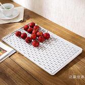家用果盤茶盤托盤瀝水盤創意放杯子盤子茶杯杯盤水杯帶孔長方形裝促銷大降價!