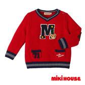 MIKI HOUSE 普奇熊學院風V領針織毛衣 (紅)