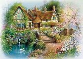【拼圖總動員 PUZZLE STORY】天鵝湖畔的小屋(作者:安德烈斯) 日本進口拼圖/AppleOne/繪畫/500P