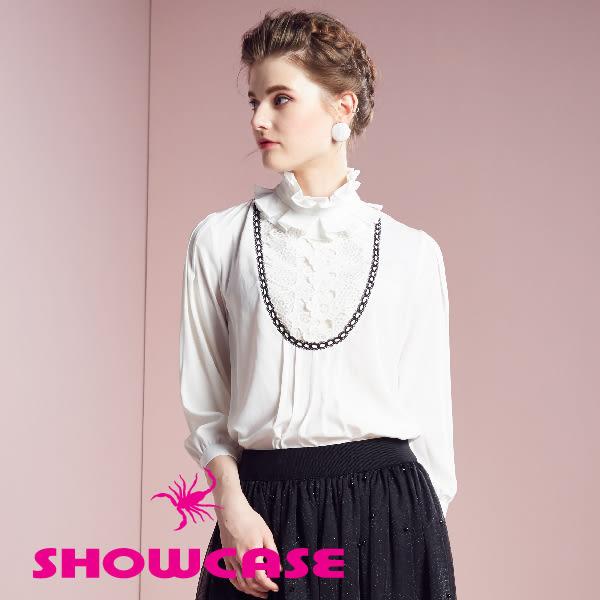 【SHOWCASE】百褶蕾絲領雪紡七分袖襯衫(白)