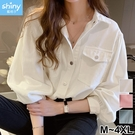 【V3245】shiny藍格子-秋薰芳恬‧氣質壓釦雙口袋長袖襯衫