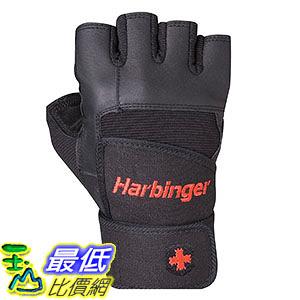 [106美國直購] Harbinger Pro Wristwrap Weightlifting Gloves with Vented Cushioned Leather Palm - Medium