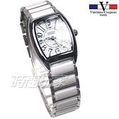 valentino coupeau 范倫鐵諾 酒樽型 數字時刻 不銹鋼陶瓷錶 女錶 防水手錶 V12180白小