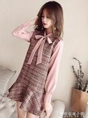 毛呢裙網紅連衣裙女秋冬小個子新款 甜美短裙假兩件套打底裙子 安妮塔小舖